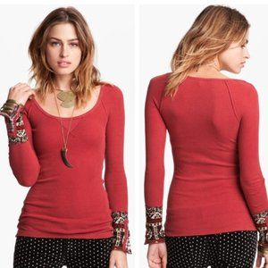 FREE PEOPLE Hyperactive Hippie Thermal, Red Boho M